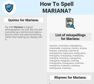 Mariana, spellcheck Mariana, how to spell Mariana, how do you spell Mariana, correct spelling for Mariana