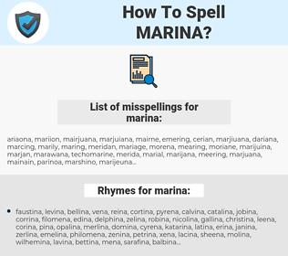marina, spellcheck marina, how to spell marina, how do you spell marina, correct spelling for marina