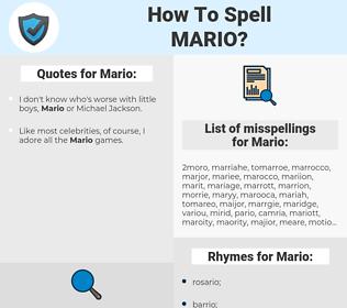 Mario, spellcheck Mario, how to spell Mario, how do you spell Mario, correct spelling for Mario
