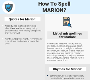 Marion, spellcheck Marion, how to spell Marion, how do you spell Marion, correct spelling for Marion