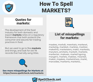 markets, spellcheck markets, how to spell markets, how do you spell markets, correct spelling for markets