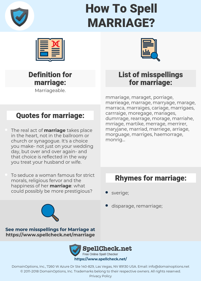 marriage, spellcheck marriage, how to spell marriage, how do you spell marriage, correct spelling for marriage