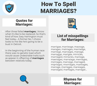 Marriages, spellcheck Marriages, how to spell Marriages, how do you spell Marriages, correct spelling for Marriages