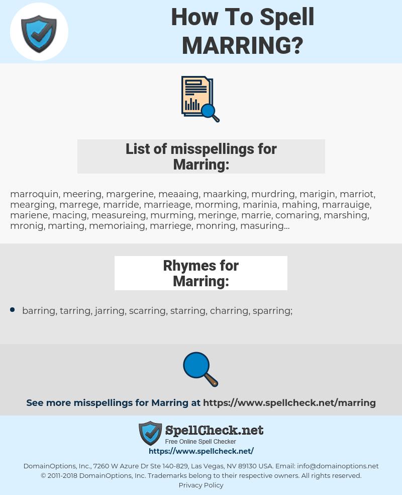Marring, spellcheck Marring, how to spell Marring, how do you spell Marring, correct spelling for Marring