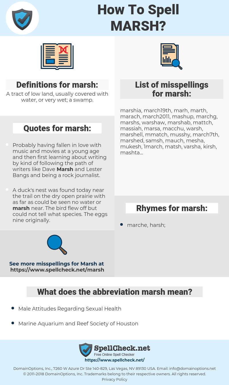 marsh, spellcheck marsh, how to spell marsh, how do you spell marsh, correct spelling for marsh