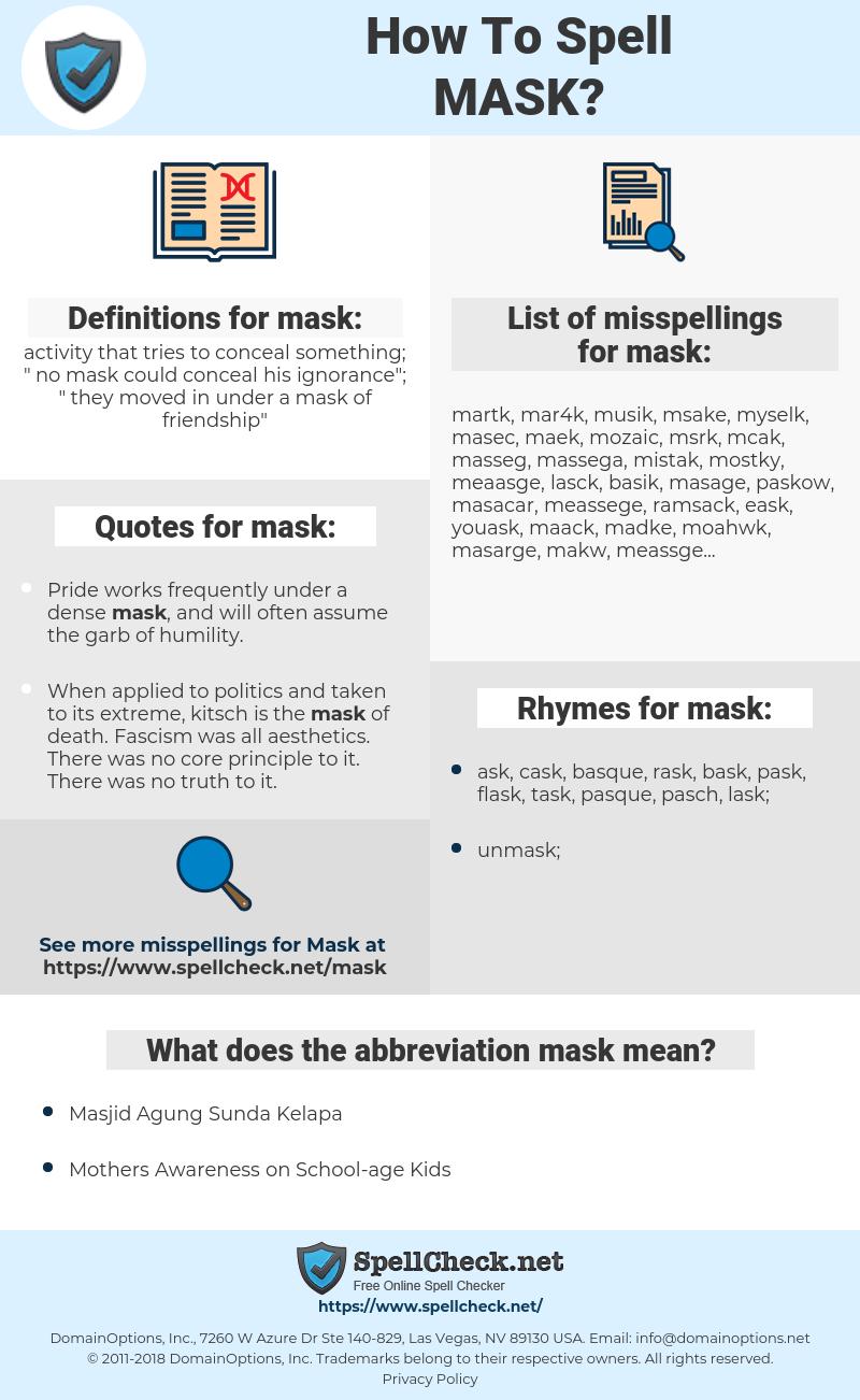 mask, spellcheck mask, how to spell mask, how do you spell mask, correct spelling for mask