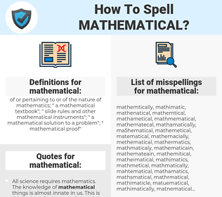 mathematical, spellcheck mathematical, how to spell mathematical, how do you spell mathematical, correct spelling for mathematical