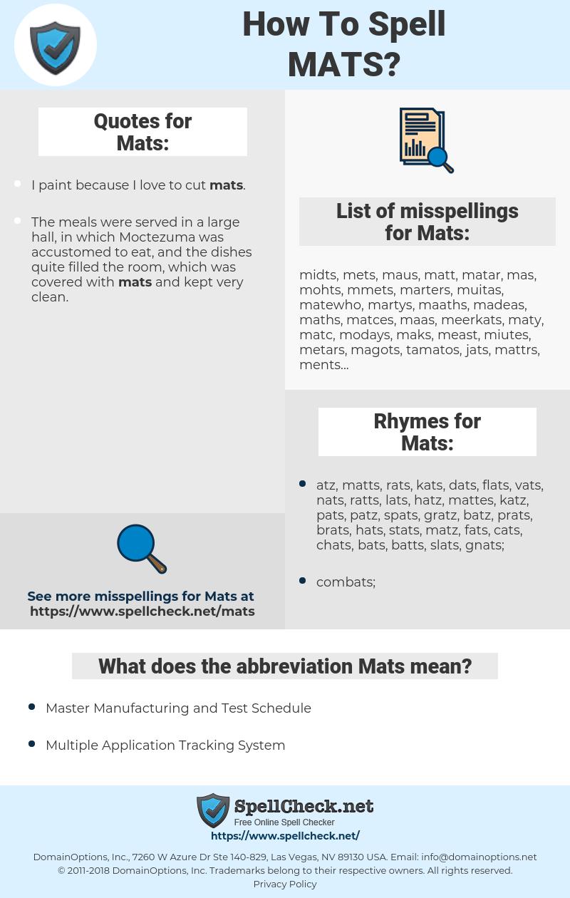 Mats, spellcheck Mats, how to spell Mats, how do you spell Mats, correct spelling for Mats
