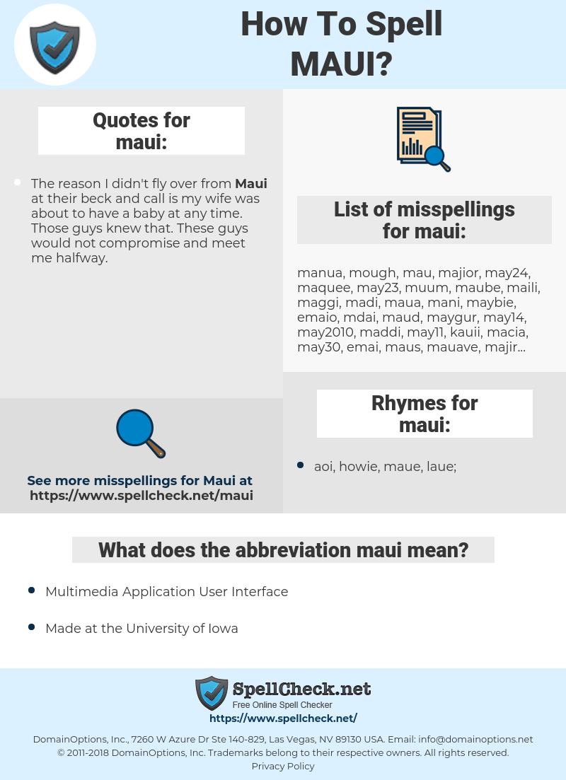 maui, spellcheck maui, how to spell maui, how do you spell maui, correct spelling for maui