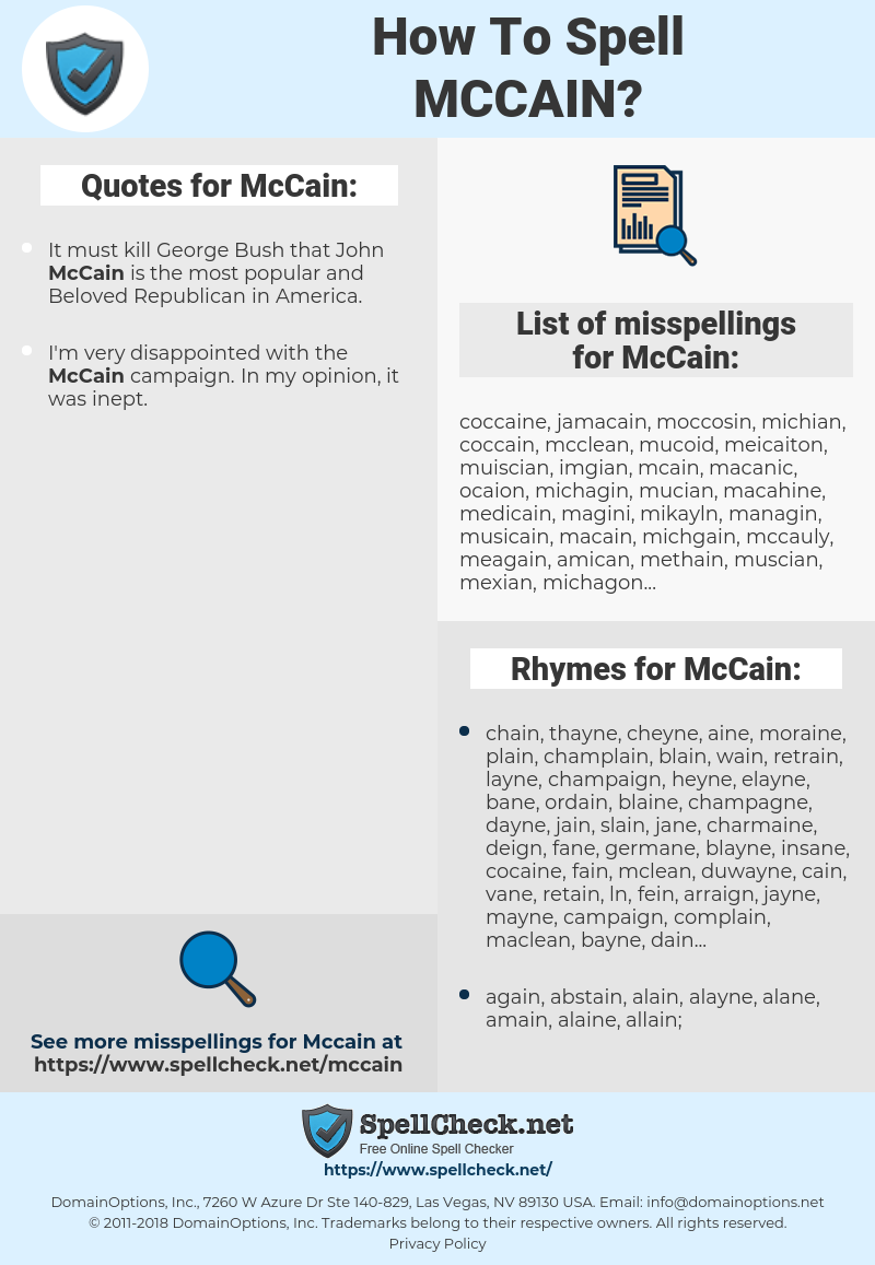 McCain, spellcheck McCain, how to spell McCain, how do you spell McCain, correct spelling for McCain