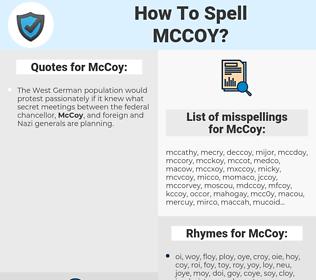 McCoy, spellcheck McCoy, how to spell McCoy, how do you spell McCoy, correct spelling for McCoy