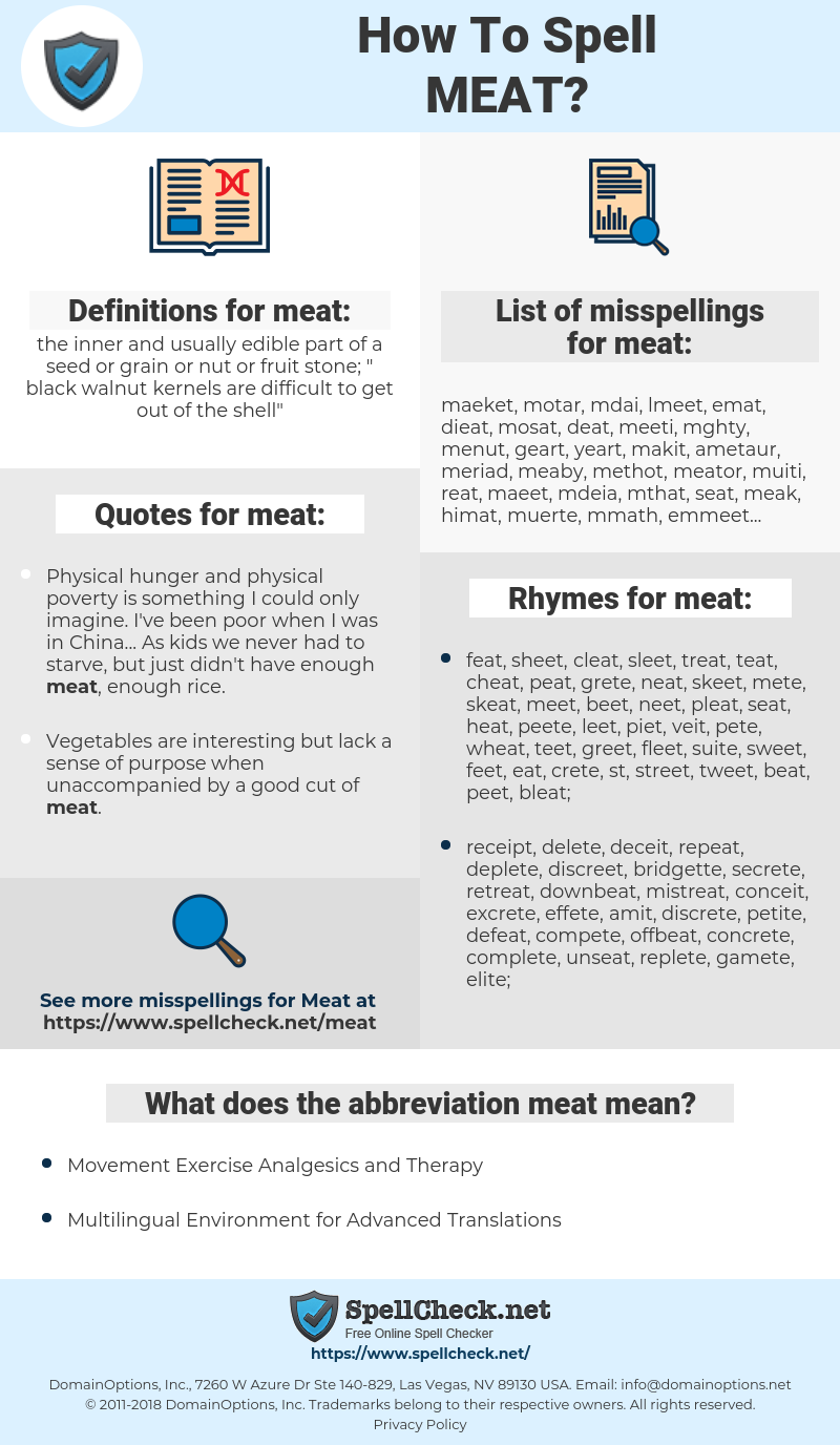 meat, spellcheck meat, how to spell meat, how do you spell meat, correct spelling for meat