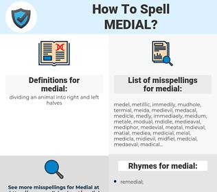 medial, spellcheck medial, how to spell medial, how do you spell medial, correct spelling for medial