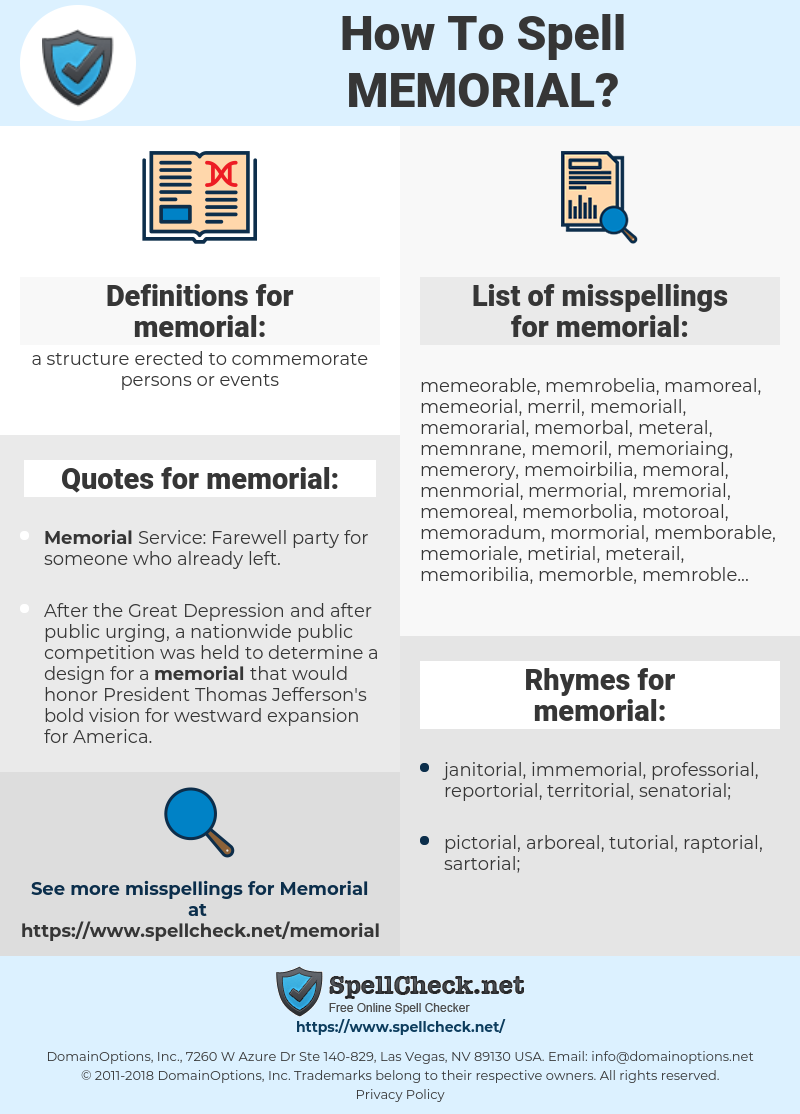 memorial, spellcheck memorial, how to spell memorial, how do you spell memorial, correct spelling for memorial