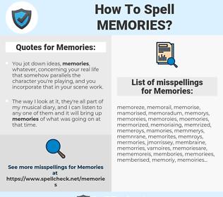 Memories, spellcheck Memories, how to spell Memories, how do you spell Memories, correct spelling for Memories