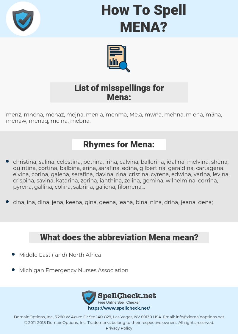 Mena, spellcheck Mena, how to spell Mena, how do you spell Mena, correct spelling for Mena