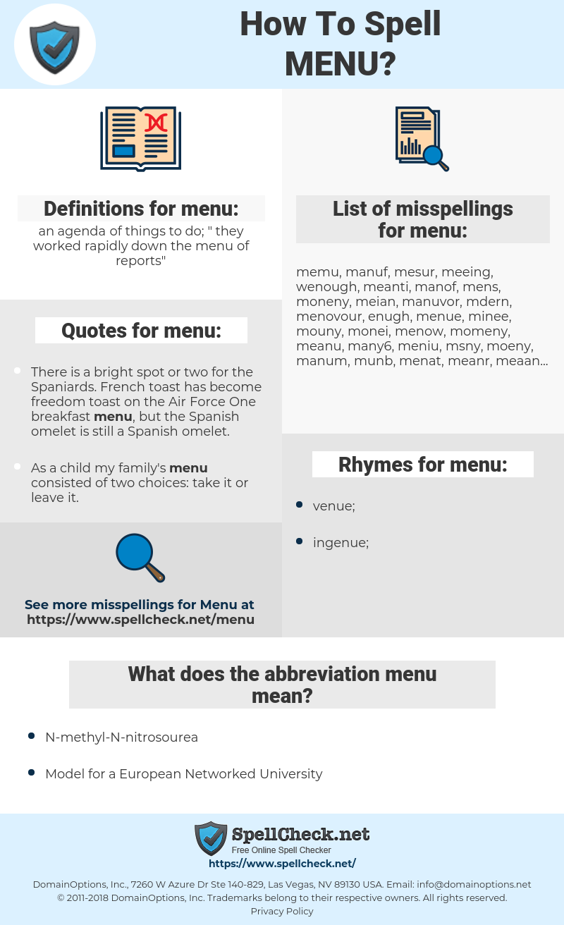 menu, spellcheck menu, how to spell menu, how do you spell menu, correct spelling for menu