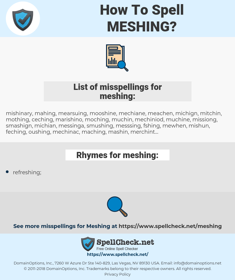 meshing, spellcheck meshing, how to spell meshing, how do you spell meshing, correct spelling for meshing