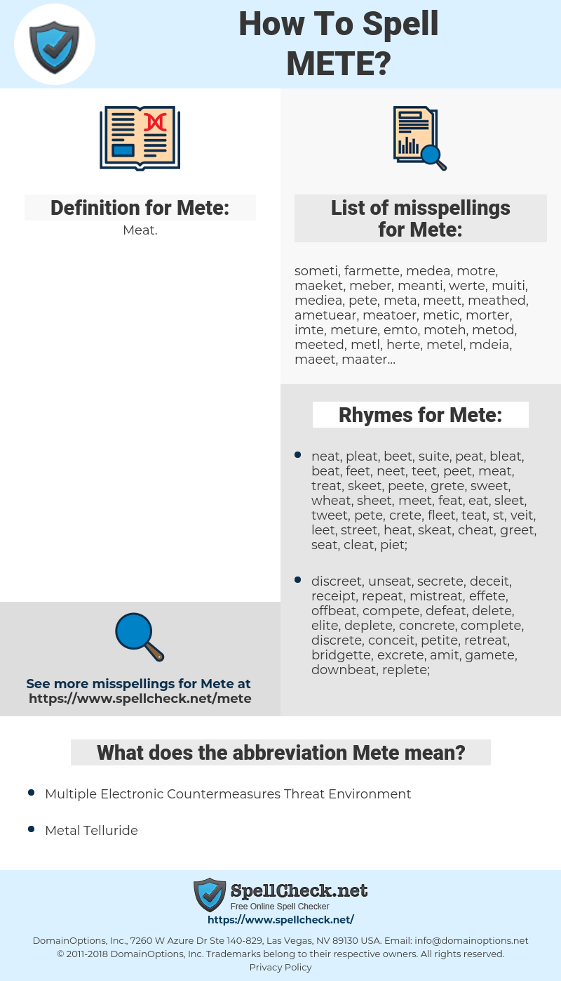 Mete, spellcheck Mete, how to spell Mete, how do you spell Mete, correct spelling for Mete