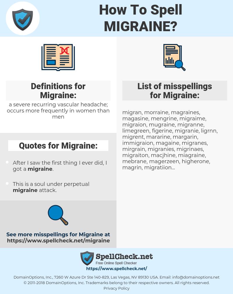 Migraine, spellcheck Migraine, how to spell Migraine, how do you spell Migraine, correct spelling for Migraine
