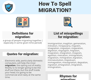 migration, spellcheck migration, how to spell migration, how do you spell migration, correct spelling for migration
