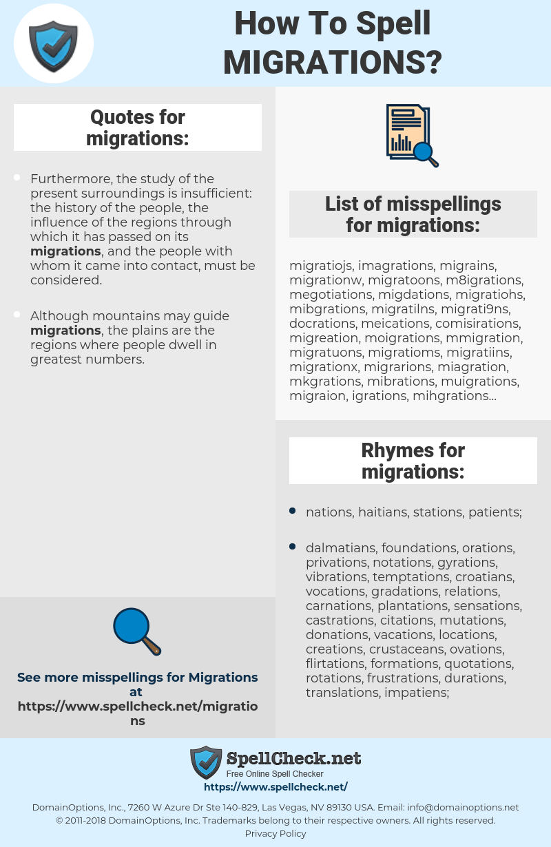 migrations, spellcheck migrations, how to spell migrations, how do you spell migrations, correct spelling for migrations
