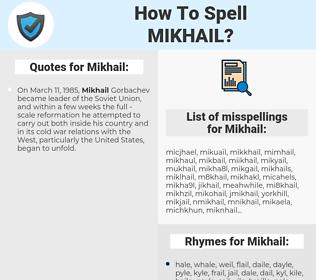 Mikhail, spellcheck Mikhail, how to spell Mikhail, how do you spell Mikhail, correct spelling for Mikhail