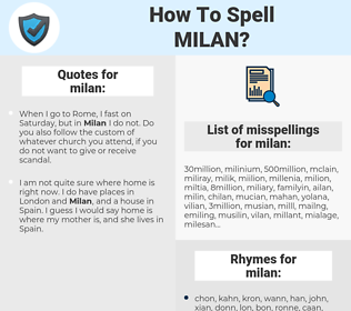 milan, spellcheck milan, how to spell milan, how do you spell milan, correct spelling for milan