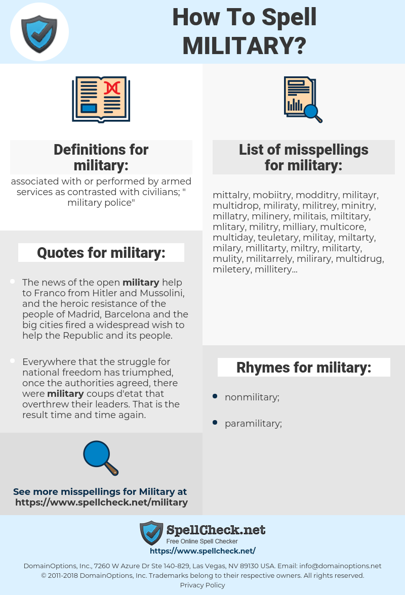 military, spellcheck military, how to spell military, how do you spell military, correct spelling for military
