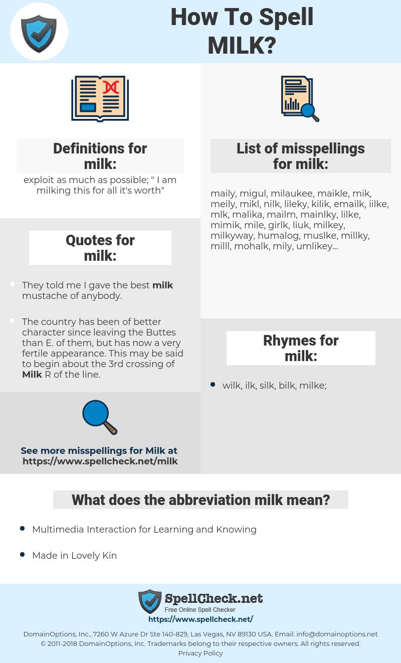 milk, spellcheck milk, how to spell milk, how do you spell milk, correct spelling for milk