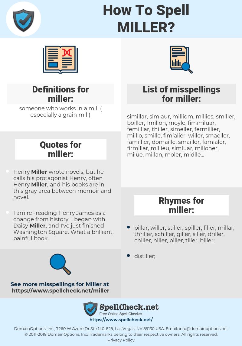 miller, spellcheck miller, how to spell miller, how do you spell miller, correct spelling for miller
