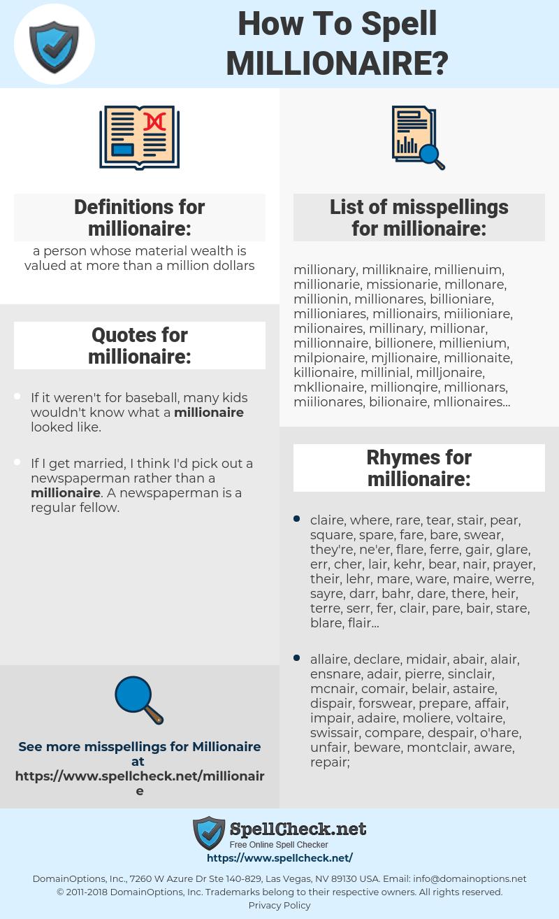 millionaire, spellcheck millionaire, how to spell millionaire, how do you spell millionaire, correct spelling for millionaire