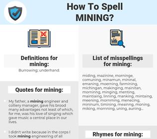 mining, spellcheck mining, how to spell mining, how do you spell mining, correct spelling for mining