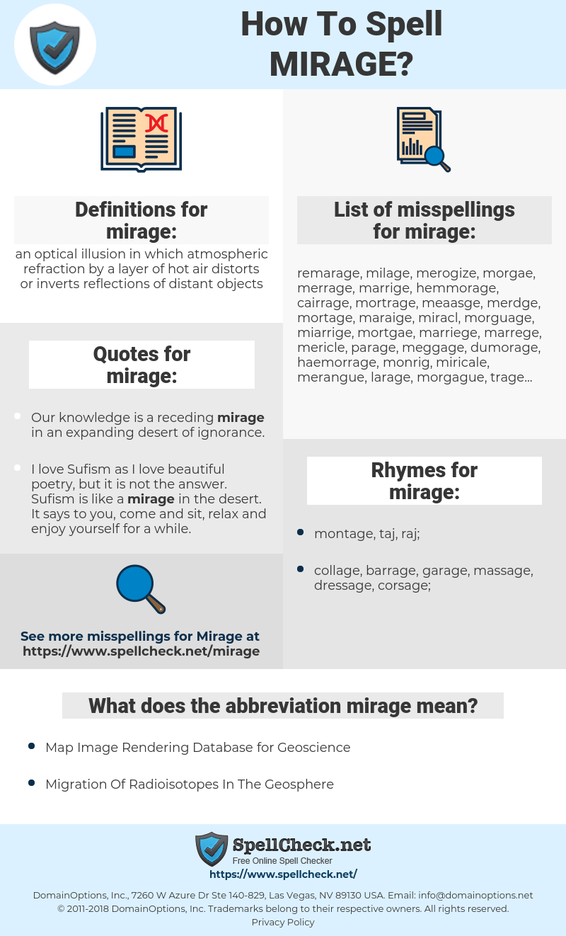 mirage, spellcheck mirage, how to spell mirage, how do you spell mirage, correct spelling for mirage