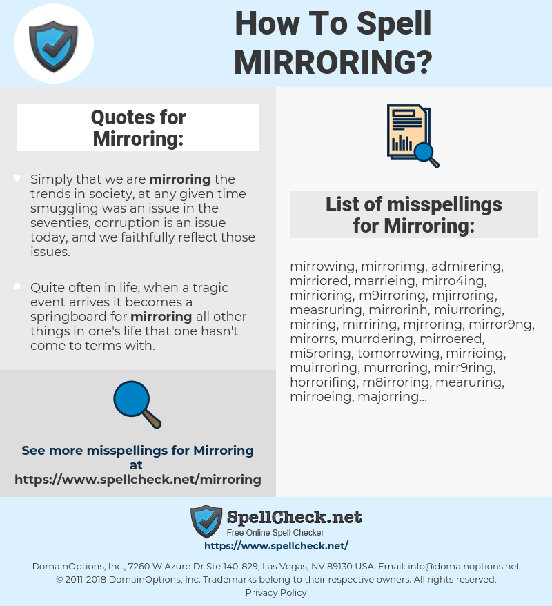 Mirroring, spellcheck Mirroring, how to spell Mirroring, how do you spell Mirroring, correct spelling for Mirroring