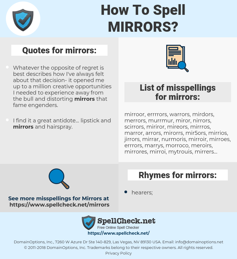 mirrors, spellcheck mirrors, how to spell mirrors, how do you spell mirrors, correct spelling for mirrors