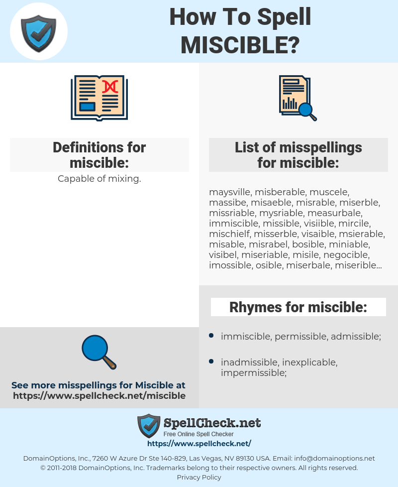 miscible, spellcheck miscible, how to spell miscible, how do you spell miscible, correct spelling for miscible