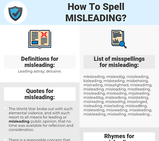 misleading, spellcheck misleading, how to spell misleading, how do you spell misleading, correct spelling for misleading