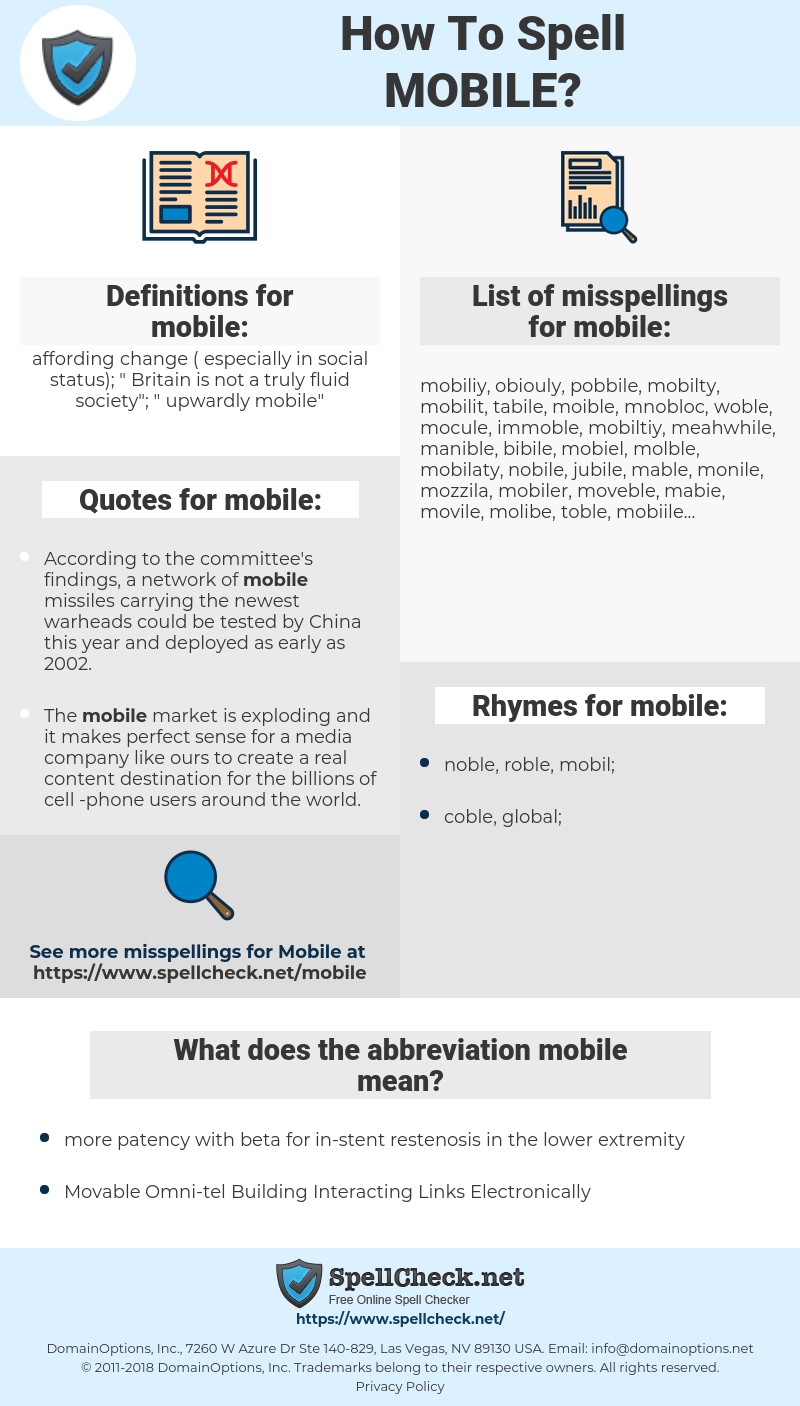 mobile, spellcheck mobile, how to spell mobile, how do you spell mobile, correct spelling for mobile