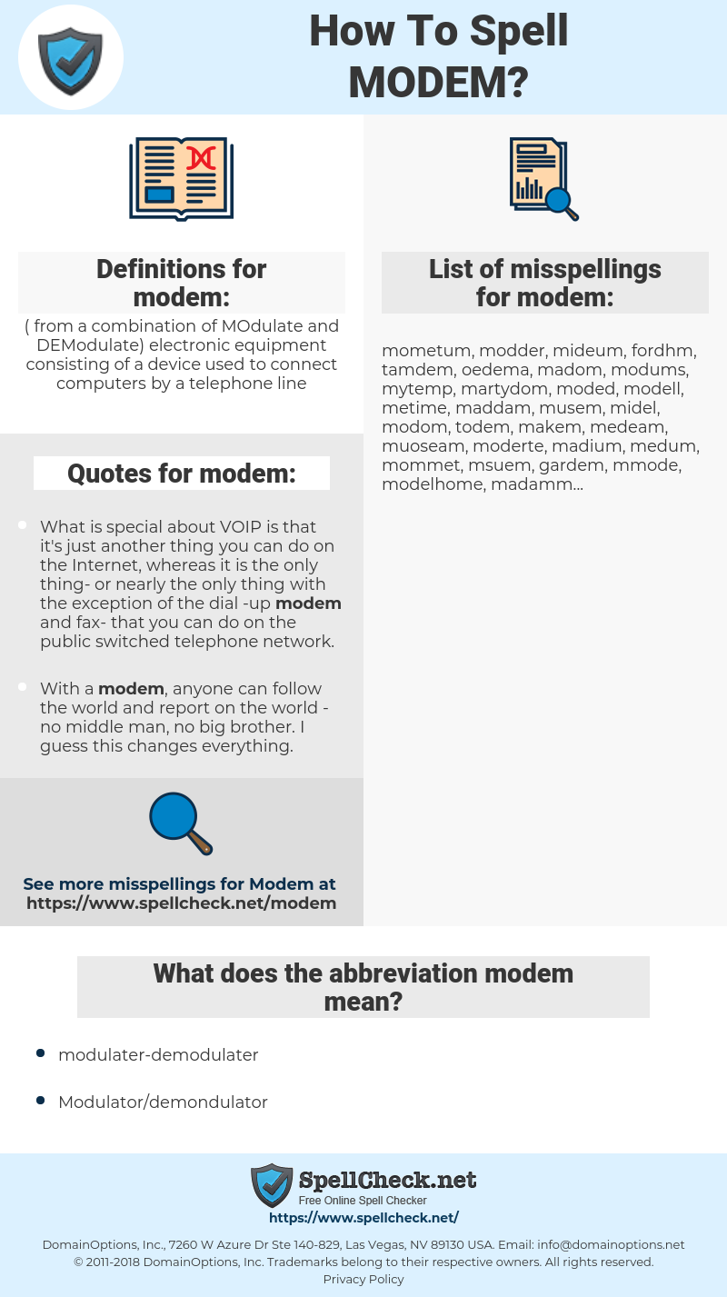 modem, spellcheck modem, how to spell modem, how do you spell modem, correct spelling for modem