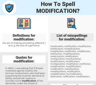 modification, spellcheck modification, how to spell modification, how do you spell modification, correct spelling for modification
