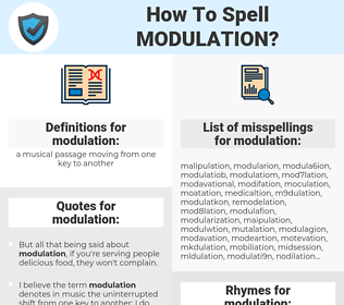 modulation, spellcheck modulation, how to spell modulation, how do you spell modulation, correct spelling for modulation