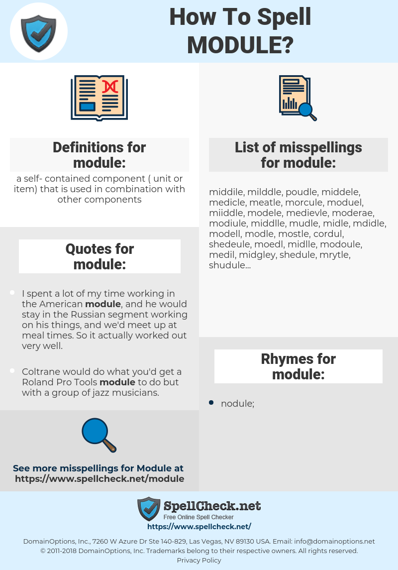 module, spellcheck module, how to spell module, how do you spell module, correct spelling for module