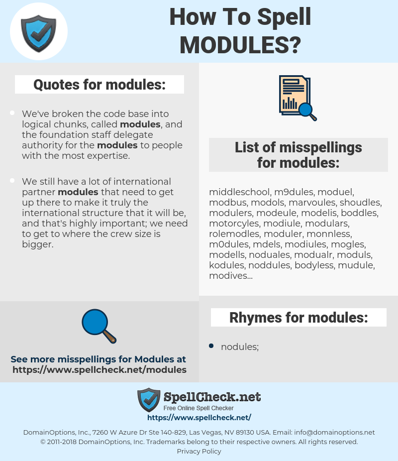 modules, spellcheck modules, how to spell modules, how do you spell modules, correct spelling for modules