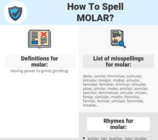 molar, spellcheck molar, how to spell molar, how do you spell molar, correct spelling for molar