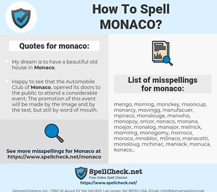 monaco, spellcheck monaco, how to spell monaco, how do you spell monaco, correct spelling for monaco