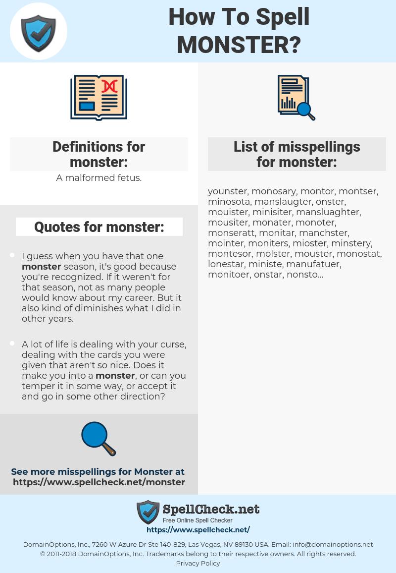 monster, spellcheck monster, how to spell monster, how do you spell monster, correct spelling for monster