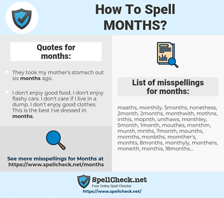 months, spellcheck months, how to spell months, how do you spell months, correct spelling for months