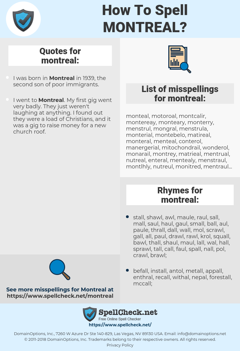 montreal, spellcheck montreal, how to spell montreal, how do you spell montreal, correct spelling for montreal