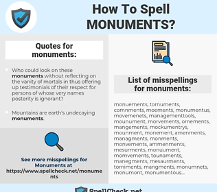 monuments, spellcheck monuments, how to spell monuments, how do you spell monuments, correct spelling for monuments